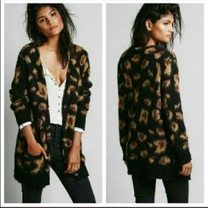 Free People Wildcat Leopard Cardigan